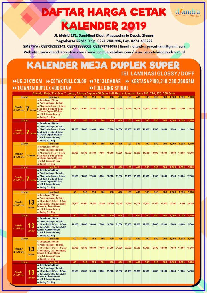 Daftar Harga Cetak Kalender 2019