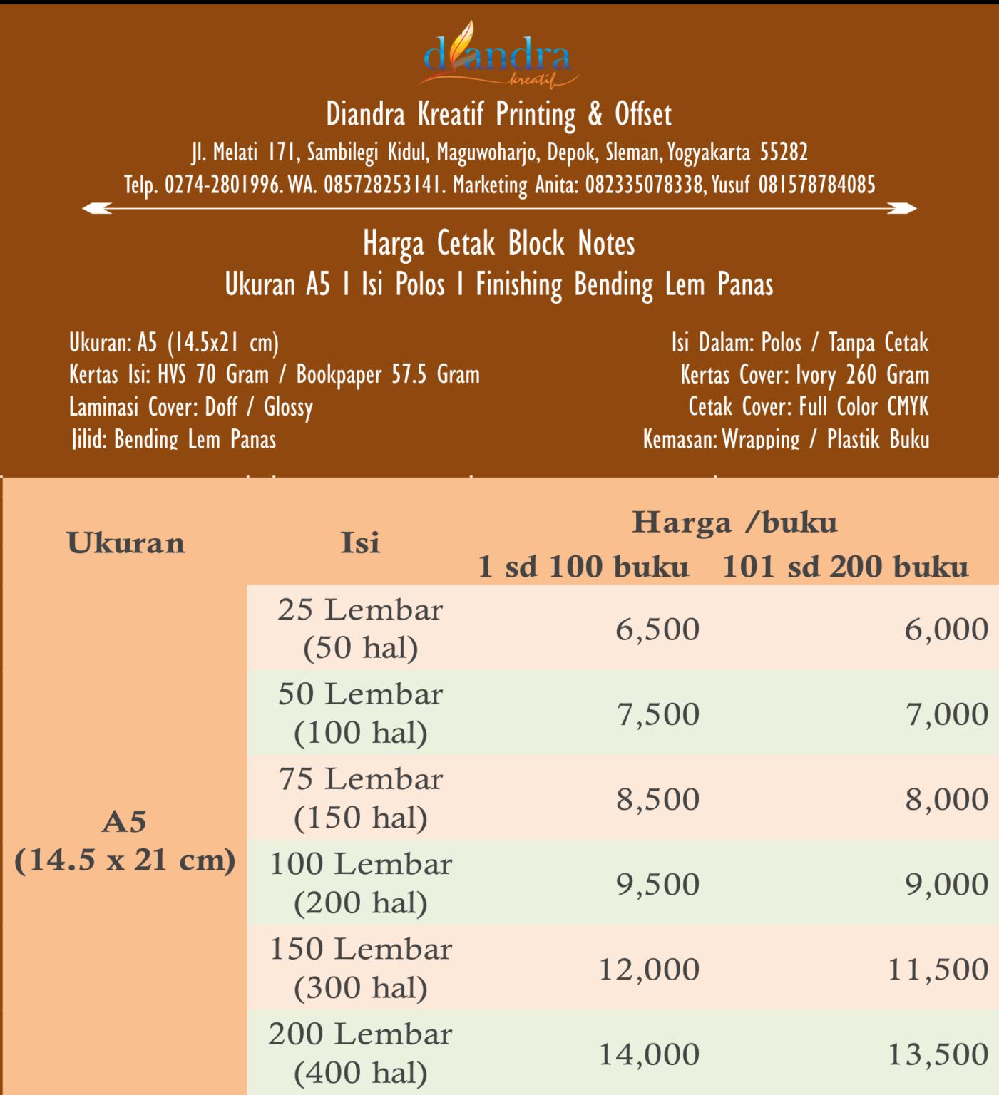 Cetak Blocknote Murah Jogja